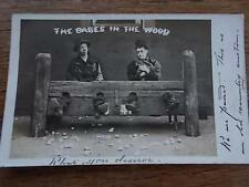 c1906 Postcard Babes in the Wood Comical Men in stocks Yorkshire Real BW Photo