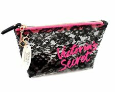 Victoria's Secret Makeup Cosmetic Bag Clear Black Lace Small Case
