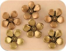 Beads Buttons Periwinkle Flowers Copper & Gold Plated Metal 2 Hole Sliders QTY 6
