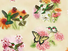 HUMMINGBIRDS  BUTTERFLIES CREAM  ELIZABETH STUDIO COTTON QUILTING FABRIC YARDAGE