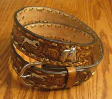 "Western Leather Belt #227 - Running Horses - Sizes 32"" to 50"""