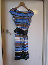 Smart Blue & Brown Stripe Cotton Summer Dress by D Perkins in Size 8 - NWOT
