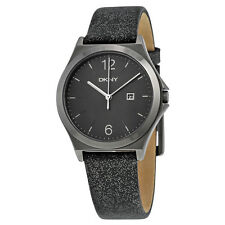 DKNY Parsons Grey Dial Metallic Gunmetal Leather Ladies Quartz Watch NY2373