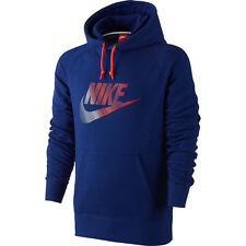 Nike Men's AW77 Futura FT Pullover Hoodie 849023 455 Blue/Orange Size Large