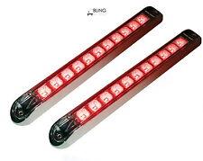 """2 Clear Lens Red 17"""" LED Light Bar Trailer Truck Stop Turn Tail w Chrome bezel"""