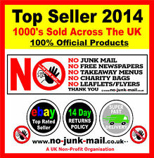 NO JUNK MAIL SIGN™- STOP UNWANTED JUNK MAIL - FRONT DOOR WARNING NOTICE (DECAL )