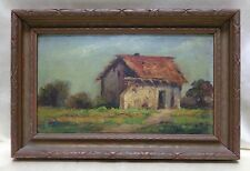 Estate Found 1910 A.M. Muller Barn Oil Painting on Wood Panel w. Antique Frame