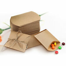 50pcs Wedding Favor Box Cute Kraft Paper Pillow Party Favour Gift Cake Candy Bag