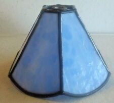 Small Blue Marble Stained Glass Hexagon Lamp Shade – Has One Cracked Glass