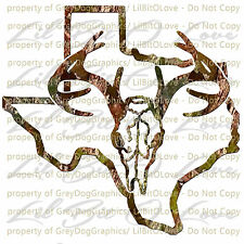 Camouflage Camo Texas Buck Hunter Hunting Vinyl Decal Sticker Deer Skull Stag