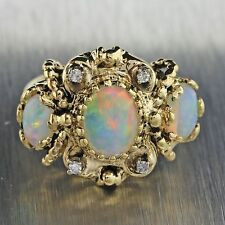 1970s Vintage Victorian Style 14k Solid Yellow Gold Opal Diamond Ring 5g
