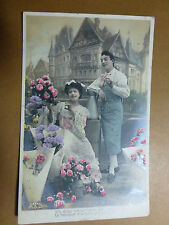 Lot067p c1910 Un Doux baiser One SWEET KISS Can Pay for Spring Bouquet Postcard