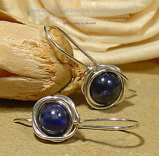 LOVELY LAPIS LAZULI 925 SILVER EARRINGS #0416-4