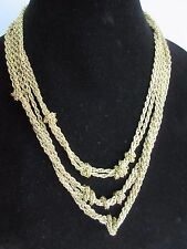 "Multi-Strand Linked Knotted Chain Necklace 18"" Authentic AMRITA SINGH Gold-Tone"