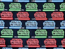 FAT QUARTER STAR WARS COMIC MOVIE LIGHT SABER SWORDS FABRIC 100% QUILT COTTON FQ