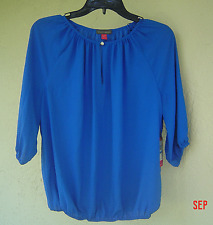 NWT  VINCE CAMUTO BLUE CAREER PEASANT BLOUSE SIZE XL $79