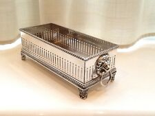 SUPERB VINTAGE E.H.PARKIN  SILVER PLATED LIONS HEAD FOOTED BISCUIT TRAY