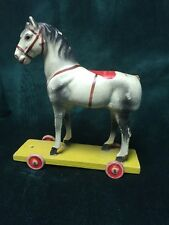 Vintage Molded Papier Mache Composition Horse Pull Toy with Wood Wheels ~Germany