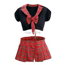 Sexy Babydoll  School Girl Uniform Plaid Mini Skirt Fancy Dress Costume Outfit