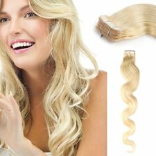 Body Wavy Tape In Weft Hair Extensions 100% Remy Human Hair Platinum Blonde 20''