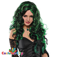 Womens Ladies Be Wicked Black & Green Witch Wig Halloween Fancy Dress Accessory