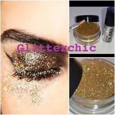 Holográfica Brillo Oro, con fijar Gel y aplicación Varita de larga duración. ojos