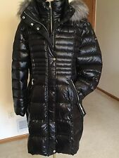 Women's Black Down Puffer Coat,XL,Hooded,Fur Collar,Karl Lagerfeld,NWT