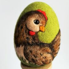 Handmade felted Easter egg with a chicken, 3D effect, 3 1/3in.