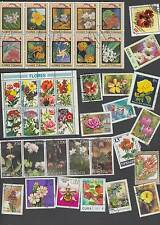 100 All different FLOWER stamps. Nice selection of world stamps