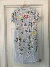 New Asos Bird And Floral Embroidered Shift Dress Size 8 Light Blue Gorgeous