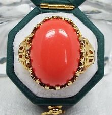 Vintage / Gold Tone Large Coral Cabochon Ornate Statement Cocktail Ring Size P