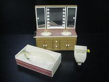 Vintage Tomy Dollhouse Bathroom Furniture Toilet Sink Bathtub Miniature Japan