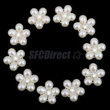 10 Crystal Pearl Button Flower Flatback DIY Wedding Craft Embellishment 22mm