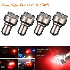 4X Super Red 1157 BAY15D 12-SMD Car Tail Brake Stop Turn Signal Led Light Bulb