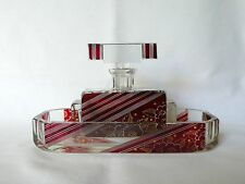 Art Deco Karl PALDA Bohemian Czech Art Glass Perfume Bottle Vanity Glass Tray