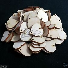 """100 1""""x1/8"""" Wooden HEARTS Holiday Birthday Family Date Board Craft 2-hole Wood"""