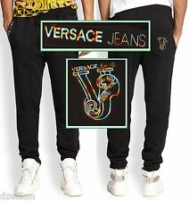 NWT $175 Versace Jeans By Gianni Versace Black Cotton Logo Sweatpants Size S