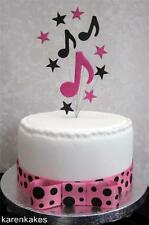 MUSICAL NOTES HOT PINK/BLACK CAKE TOPPER IDEAL FOR A SMALL CAKE, OR CUP CAKE