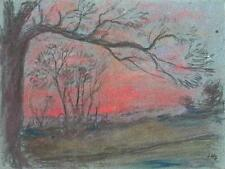 IMPRESSIONIST TREES IN SUNSET LANDSCAPE Pastel Drawing MARCUS ADAMS c1950