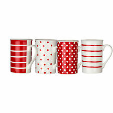 Set Of 4 Red White Spots/Stripes Dotted Porcelain Tea Coffee Drinks Mugs New