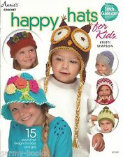 Happy Hats for Kids Crochet Instruction Patterns Kristi Simpson AA874527 NEW