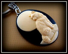 Cat Cameo Jewelry - CAT and MOON design Keychain - Art Deco Retro style