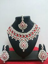 Indian Bollywood Style Rose Gold Plated Bridal Fashion Jewelry Necklace Set