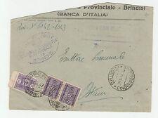 STORIA POSTALE 1947 REGNO COPPIA C.50+L.5 SU BUSTA BRINDISI 16/6 Z/1333