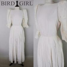BRODERIE ANGLAISE 198-S VINTAGE WHITE COTTON CUTWORK HIPPY PEASANT MAXI DRESS 10
