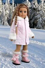 Cotton Candy - Clothes for 18 inch American Girl Doll, Parka Hood Dress Boots