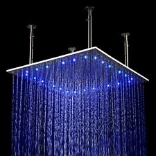 24x24 inch LED Stainless Steel Ceiling Waterfall Rain Shower Head Brushed Nickel
