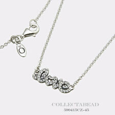 "Authentic Pandora Sterling Silver Signature of Love Necklace 17.7""  590415CZ-45"