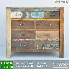Nirvana Recycled Reclaimed boat Timber wood dresser chest of 9 drawers tallboy