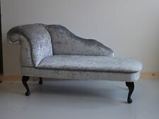 Chaise Longue in Silver Crushed Velvet